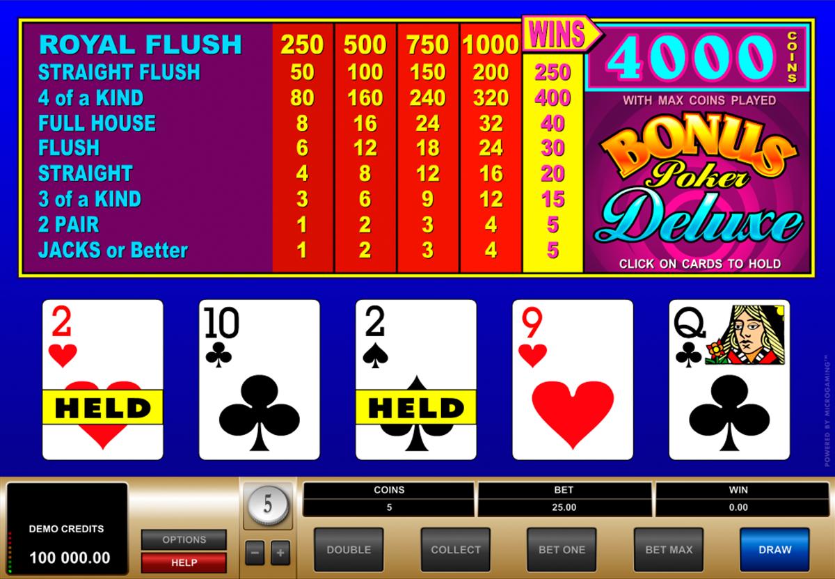 bonus poker deluxe microgaming