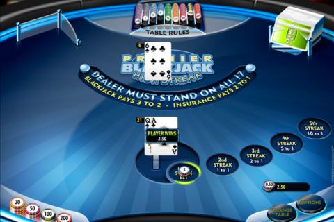 premier high streak blackjack microgaming